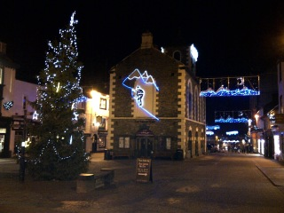 Moot Hall with Christmas lights and Tree in Market Square