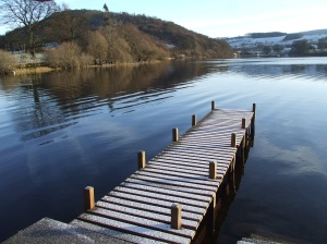 Snow steps leading to a crystal lake - well almost. Derwent Water
